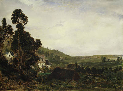 Realistic Painting - An Old Chapel In A Valley by Theodore Rousseau