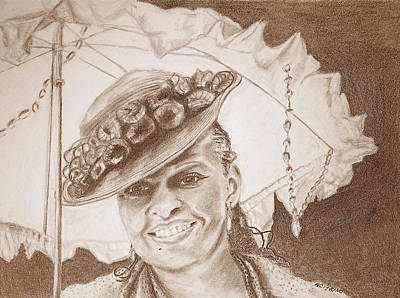 Drawing - An Old Fashioned Girl In Sepia by Antonia Citrino