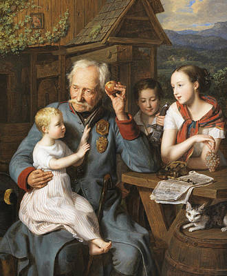 Invalid Painting - An Old Invalid With Three Children by Ferdinand Georg Waldmuller