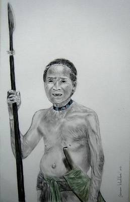Drawing - An Old Man From Aetas Tribe by Wanvisa Klawklean