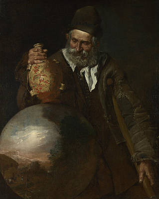 Old Bottles Painting - An Old Man Holding A Pilgrim-bottle by Pietro Bellotti