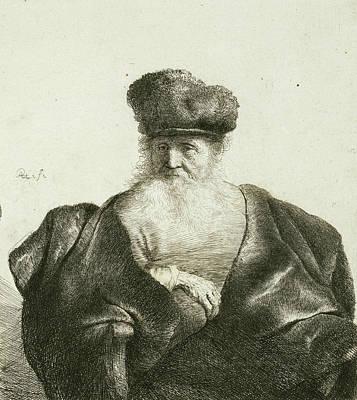 An Old Man With A Beard, Fur Cap, And Velvet Cloak Art Print