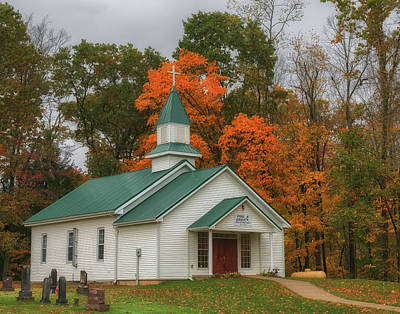 Photograph - An Old Ohio Country Church In Fall by Richard Kopchock