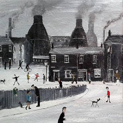 Smokey Painting - An Old Potteries Scene by Walker Scott British Industrial Northern Art