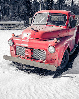 Photograph - An Old Red Farm Truck by Edward Fielding