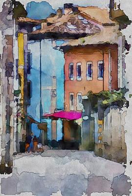 An Old Street In Europe Art Print