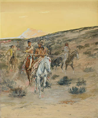 Hunting Party Painting - An Old Time Hunting Party by Celestial Images