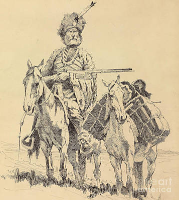 Reins Painting - An Old Time Mountain Man With His Ponies by Frederic Remington