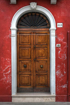 Red Door Photograph - an old wooden door in Italy by Joana Kruse