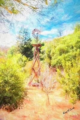 Digital Art - An Old Wooden Windmill. by Rusty R Smith