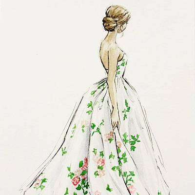 Dressed In White And Roses Art Print