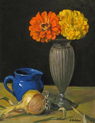 Painting - An Onion And Two Zinnias by Robert Holden