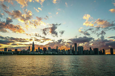 America Photograph - An Orange Sky In Chicago by Med Studio