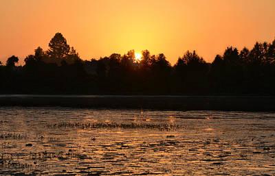 Photograph - An Orange Sky - Sunrise Over Alligator Lake by rd Erickson