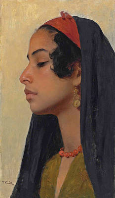 Painting - An Oriental Beauty by Franz Xavier Kosler