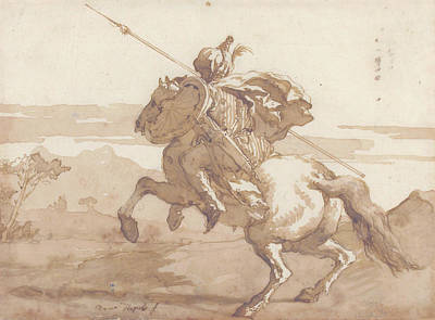 Drawing - An Oriental Horseman by Giovanni Domenico Tiepolo