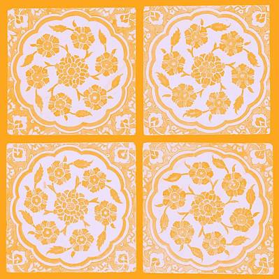 World War 2 Action Photography Royalty Free Images - An Ottoman Iznik style floral design pottery polychrome, by Adam Asar, No 14f Royalty-Free Image by Adam Asar