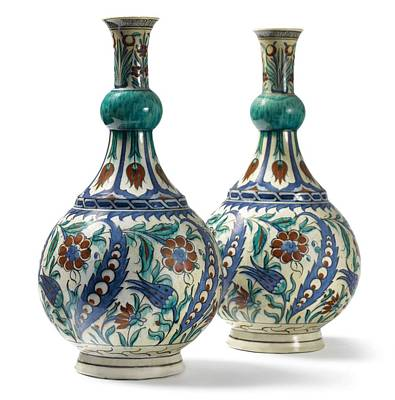 Sean Rights Managed Images - An Ottoman Iznik style floral design pottery polychrome, by Adam Asar, No 21 Royalty-Free Image by Adam Asar