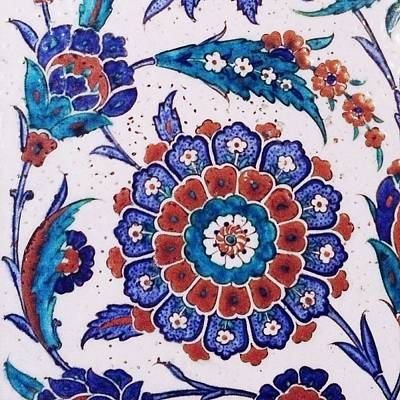 Mountain Landscape Rights Managed Images - An Ottoman Iznik style floral design pottery polychrome, by Adam Asar, No 37 Royalty-Free Image by Adam Asar