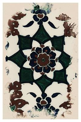 Painting - An Ottoman Iznik Style Floral Design Pottery Polychrome, By Adam Asar, No 42 Z by Adam Asar