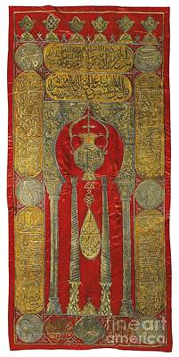 Red Thread Painting - An Ottoman Silk And Metal Thread Red-ground Curtain by Celestial Images