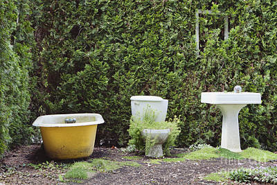 Large Sinks Photograph - An Outdoor Bathroom In The Childrens by Douglas Orton