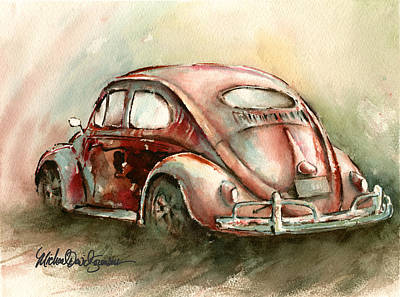 Beetle Painting - An Oval Window Bug In Deep Red by Michael David Sorensen