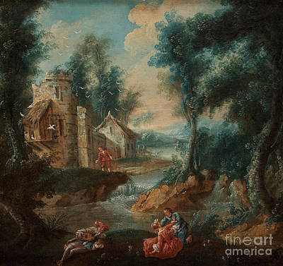 Shephard Painting - An Overdoor With A Shephard Scene With Bird House by Celestial Images