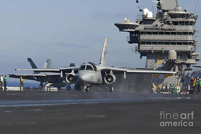Navy Jets Photograph - An S-3b Viking Prepares To Launch by Stocktrek Images