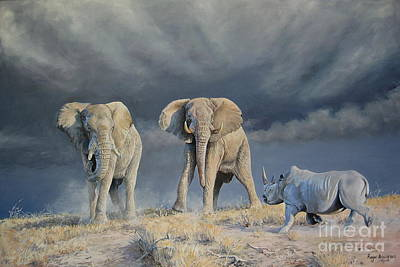 Elephant Painting - An Uncertain Encounter by Roger Brown