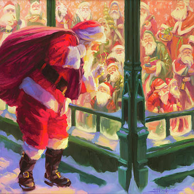 Santa Wall Art - Painting - An Unforeseen Encounter by Steve Henderson