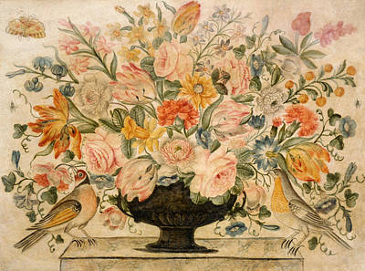 An Urn Containing Flowers On A Ledge Art Print