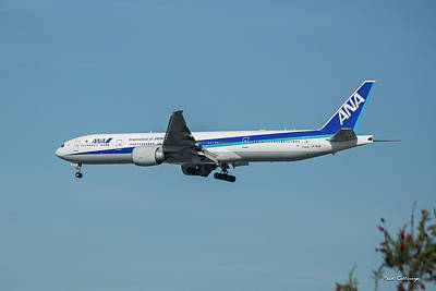 Photograph - Ana Airplane J A 738 A Lax Landing Los Angeles Art by Reid Callaway