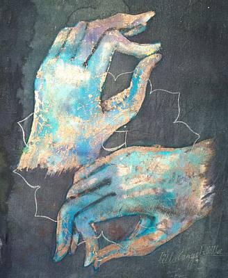 Ahimsa Painting - Anahata - Heart 'blue Hand' Chakra Mudra by Silk Alchemy