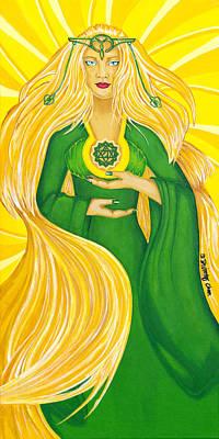 Painting - Anahata Heart Chakra Goddess by Divinity MonSun Chan