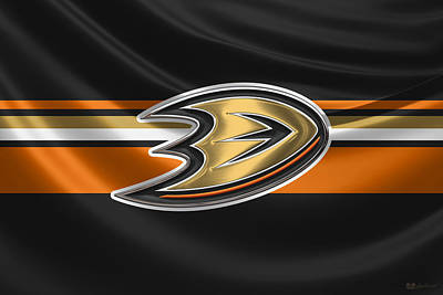 Hockey Art Digital Art - Anaheim Ducks - 3 D Badge Over Silk Flag by Serge Averbukh