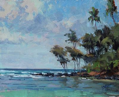 Hawaii Painting - Anahola Point by Pierre Bouret