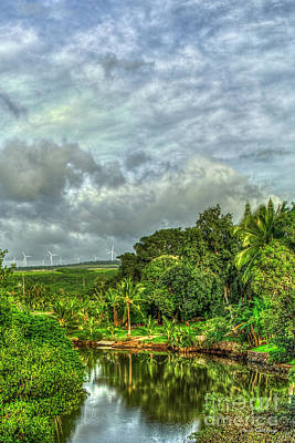 Photograph - Anahulu Stream Reflections North Shore Windmills Oahu Hawaii Art by Reid Callaway