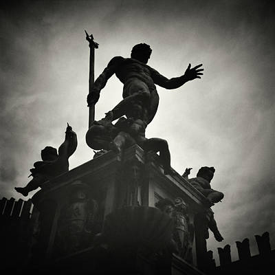 Analog Photograph - Analog Black And White Photography - Bologna - Fontana Del Nettuno by Alexander Voss