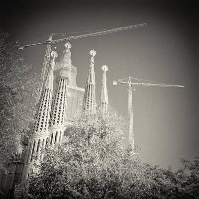 Black And White Photograph - Analog Black And White Photography - Barcelona - Sagrada Familia by Alexander Voss