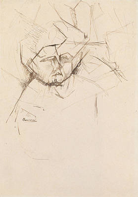 Boccioni Drawing - Analytical Study Of A Woman's Head Against Buildings by Umberto Boccioni