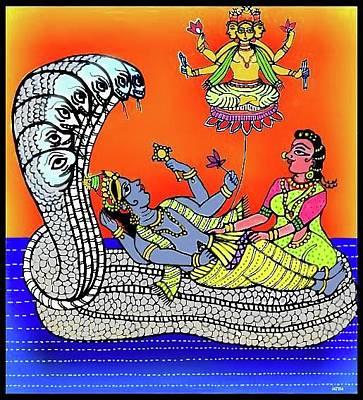 Digital Art - Anantha Sayanam-patta Chitra Style by Latha Gokuldas Panicker