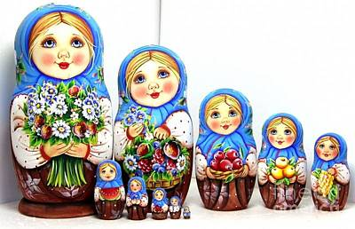 Matryoshka Sculpture - Anastasia With A Bouquet  by Viktoriya Sirris