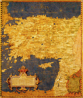 Middle Ground Painting - Anatolian Peninsula With Ancient Toponyms And Middle East by Italian painter of the 16th century