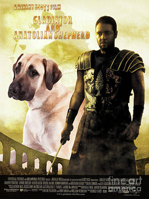 Painting - Anatolian Shepherd Art Canvas Print - Gladiator Movie Poster by Sandra Sij