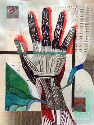 Printmaking Mixed Media - Anatomic Hand Print by Suzanne Shewmake Akin