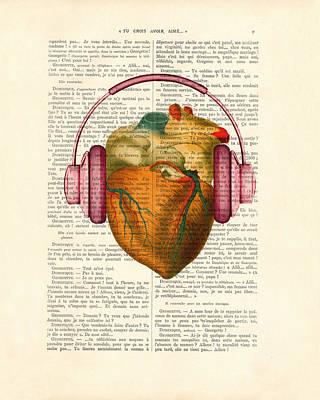 Clip-art Digital Art - Anatomical Heart And Headphonesin Color  by Madame Memento