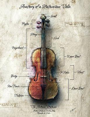 Digital Art - Anatomy Of A Stradavarious Violin by Gary Bodnar