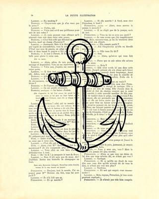 Anchor Black Lines Old School Illustration Art Print by Madame Memento