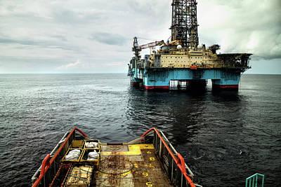 Anchor Handling Tug Near Oil Rig Art Print